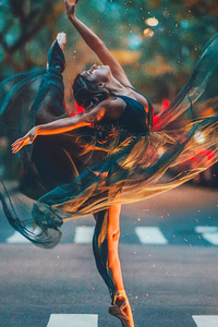 640x960 Ballet Dancer Girl Road 4k