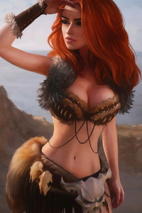 1080x1920 Barbarian Fantasy Girl 4k