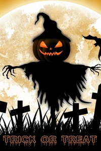 240x320 Bat Fence Halloween Holiday Scarecrow