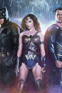 1125x2436 Bat Man Wonder Woman Superman