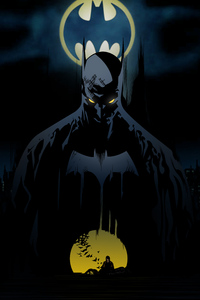 Batman Behind Bat Signal
