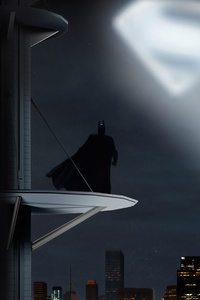 480x800 Batman Looking Up Superman Logo
