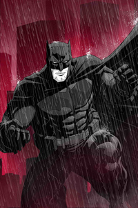 Batman Red Background Art