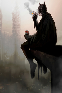 1440x2960 Batman Smoking And Drinking Beer Art
