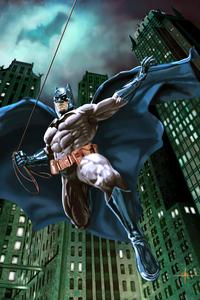 320x480 Batman Suit Cape Comic Art 4k