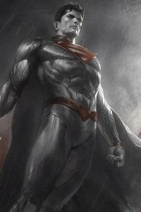 1125x2436 Batman Superman Monochrome