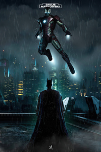 640x960 Batman Vs Iron Man Rain 4k