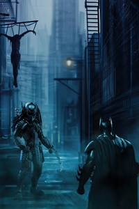 640x960 Batman Vs Predator Artwork