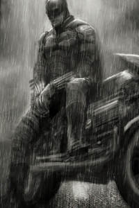Batman With Bike Raining Monochrome