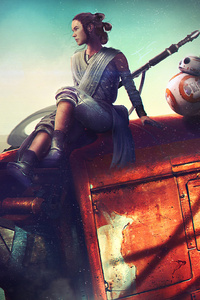 480x854 BB8 And Rey Star Wars Artwork