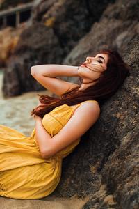 1080x1920 Beach Girl Long Hair Relaxing 5k