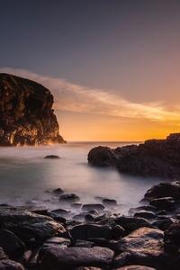 Beach Rocks Clouds Golden Hour 5k