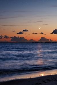 480x800 Beach Sea Evening Moon 5k