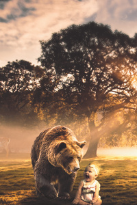 480x800 Bear With Child Fantasy Manipulation