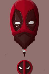 640x960 Bearded Deadpool Minimalism