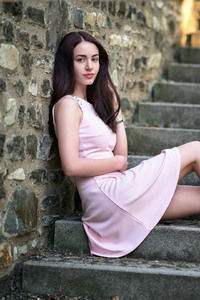 Beautiful Brunette Girl In Pink Dress