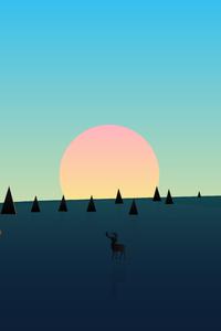 Beautiful Day Sunset Deer Minimal 8k