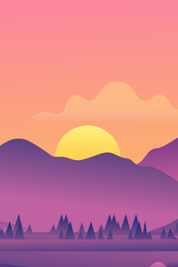 1125x2436 Beautiful Evening Landscape Minimal 8k