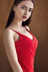 1080x2280 Beautiful Girl In Red Dress