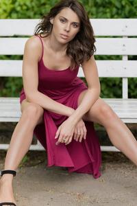 480x854 Beautiful Girl Red Dress Sitting On Bench 4k