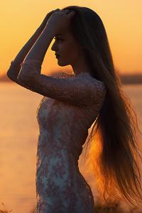 320x568 Beautiful Girl Silhouette Long Hairs 4k