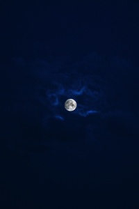 Beautiful Moon In Blue Sky
