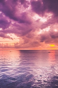 Beautiful Purple Sea And Pink Horizon Sunrise