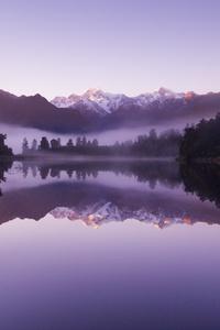 Beautiful Purple Weather Landscape Of Lake Matheson