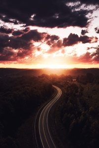 Beautiful Road Path Sun Setting Drone View 4k