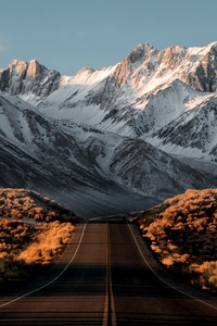 Beautiful Snowy Mountains Road