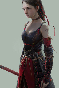 480x800 Beautiful Warrior Girl 4k