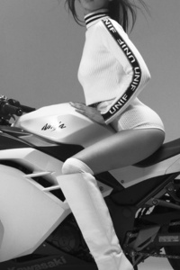 Bella Hadid Kawasaki Ninja Photoshoot Monochrome