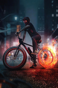 Bicycle Rider Fire Burnout 5k
