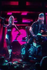 1125x2436 Biker Boy And Girl Cyberpunk 2077 4k