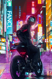 720x1280 Biker City Colorful 4k