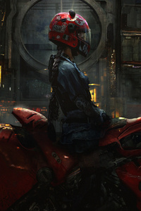 Biker Cyberpunk Girl Scifi