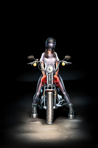 1280x2120 Biker Girl Digital Art 4k