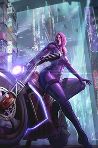 240x400 Biker Girl Science Fiction Futuristic City
