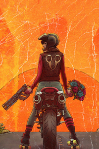 Biker Girl With Gun And Roses