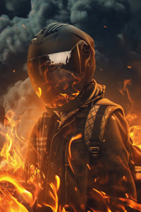 Biker Helmet Fire 4k