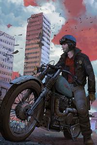 320x568 Biker In Abandoned Town 4k