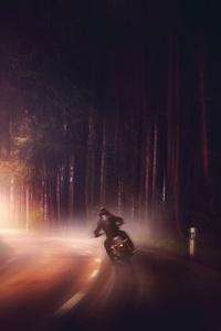 Biker In Woods Dark Road Digital Art