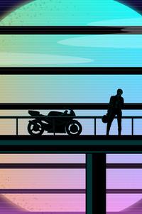 320x568 Biker Moto Sunset 1989 Suzuki