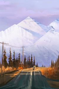 1280x2120 Biker Mountains Rider Landscape