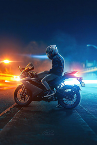 Biker On Road Lights 4k
