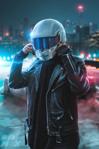 1280x2120 Biker Touching Helmet 4k