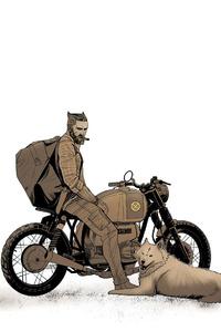 720x1280 Biker With Dog 4k