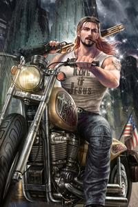 1440x2560 Biker With Gun