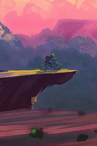 Biking To The Edge Of Mountain Cliff
