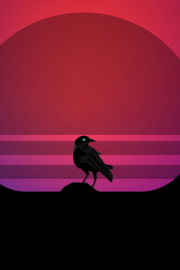 640x1136 Bird Synthwave 4k